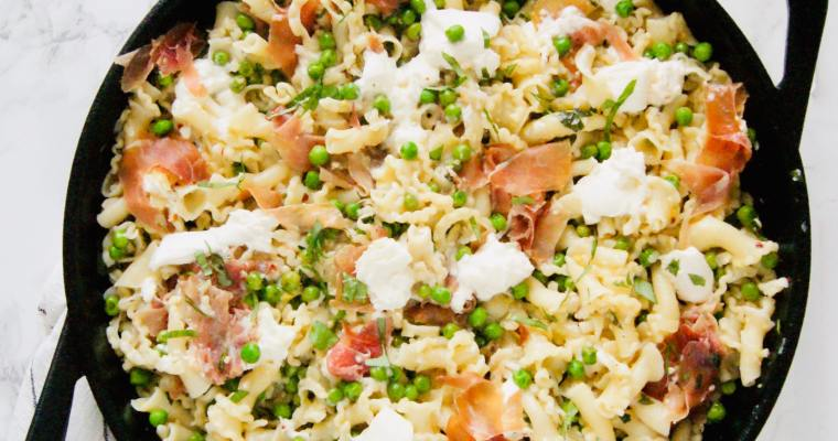 Prosciutto Burrata Pasta with Peas