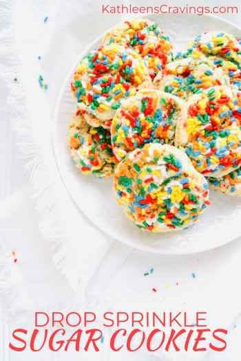 Sprinkle Drop Sugar Cookies with text