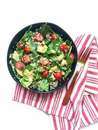 Balsamic Quinoa Mason Jar Salad in bowl