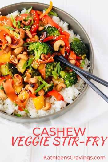 Cashew Veggie Stir-Fry in bowl with chopsticks text