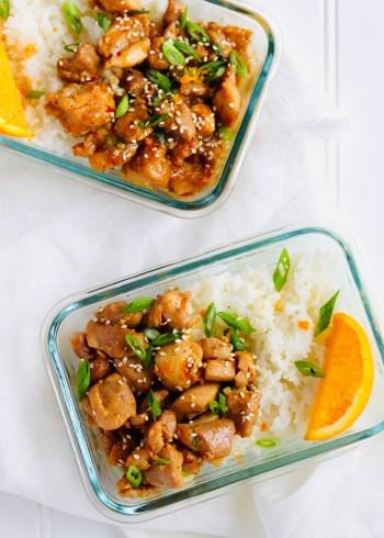Healthy orange chicken meal prep