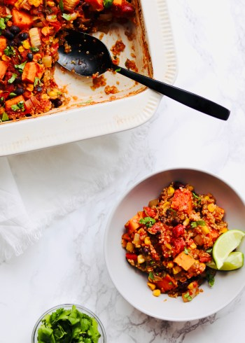 Vegan mexican quinoa bake in bowl and dish