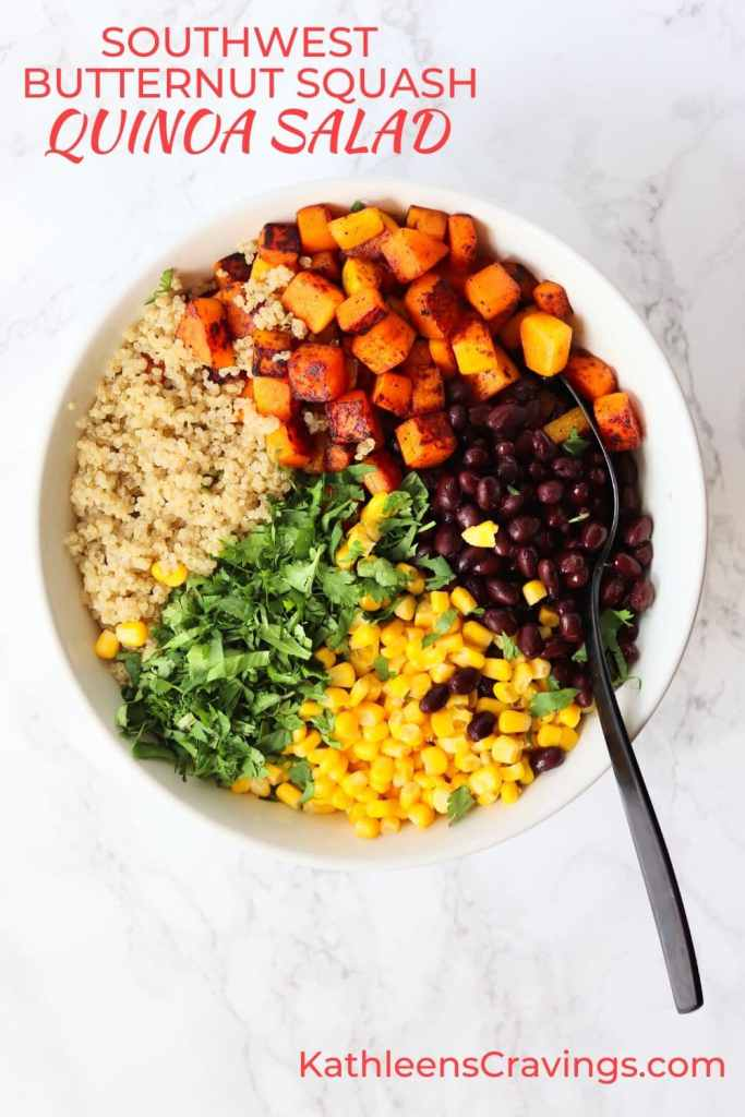 Southwest Butternut Squash Quinoa Salad ingredients in bowl with text overlay