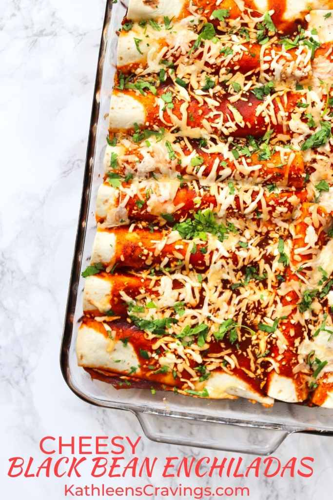 Cheesy vegetarian enchiladas in glass 9x13 dish with text overlay