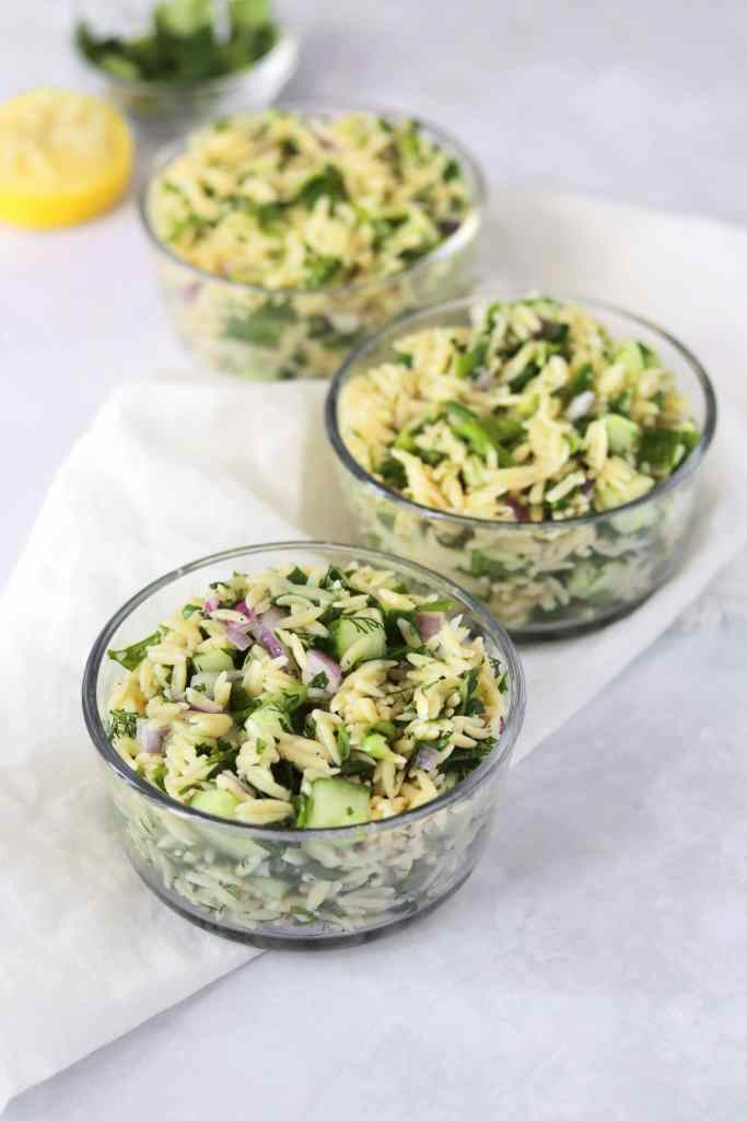 Herb lemon orzo salad in small bowls