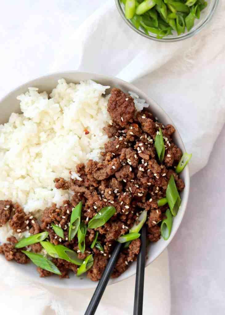 Korean Ground Beef Rice Bowl with chopsticks