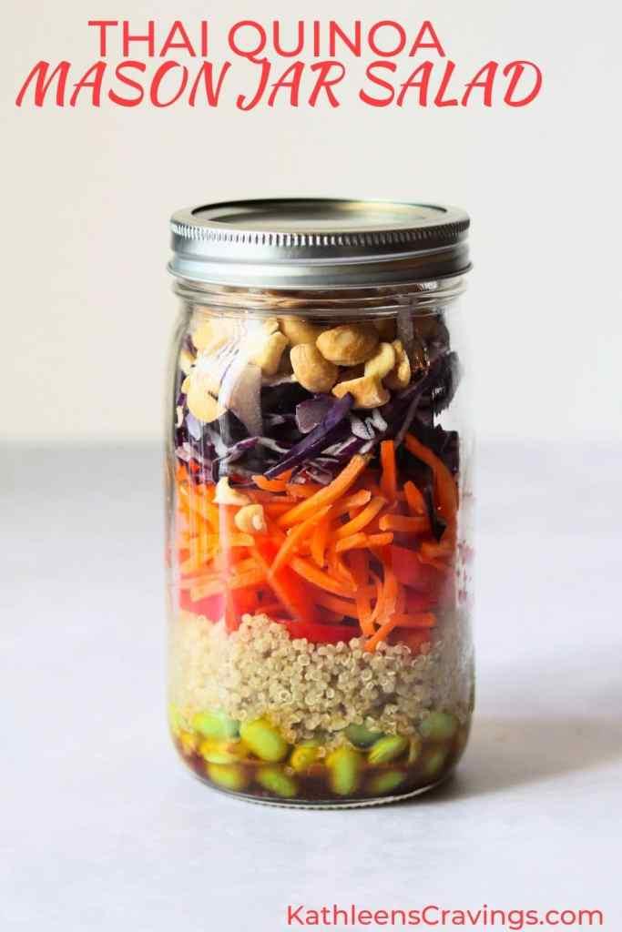 Thai Quinoa Mason Jar Salad with text overlay