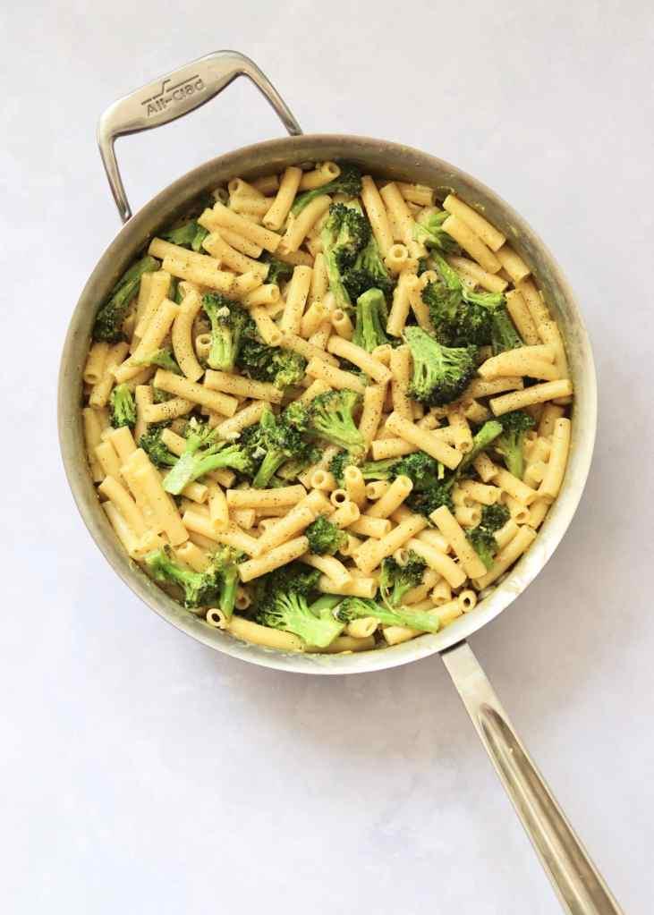 Broccoli carbonara pasta in large skillet