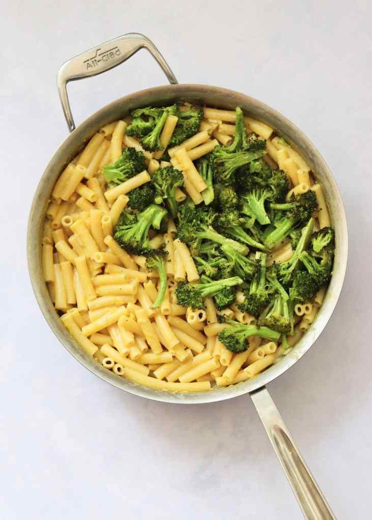Pasta and broccoli in deep sauté pan