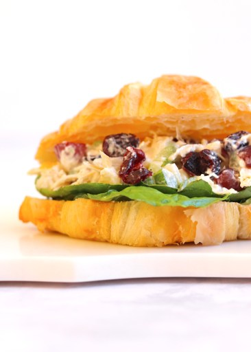 Close up of a healthy chicken salad sandwich on a marble board