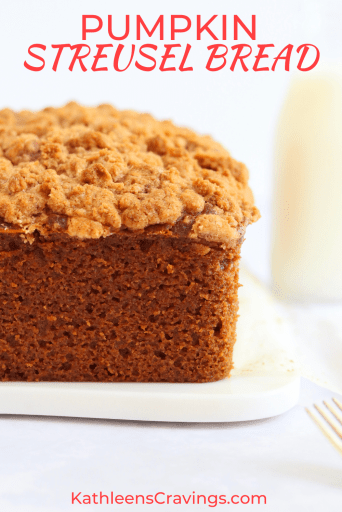Pumpkin bread with streusel topping and a glass of milk