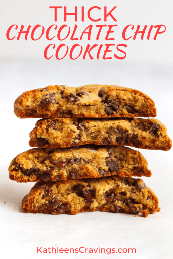 Stack of four chocolate chip cookie halves with text overlay