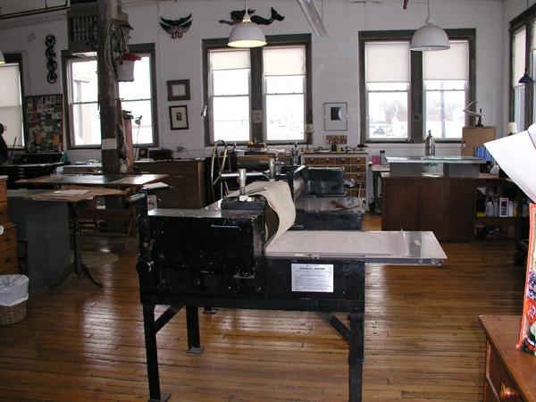 Intaglio press at West Cove studio