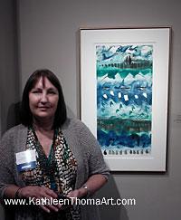 photo of Kathleen Thoma at Transferring Ink 3 show opening