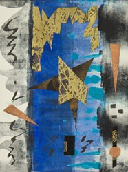 Invitation from the 7 Planets-4, Kathleen Thoma, monotype & collage, 5x7 in