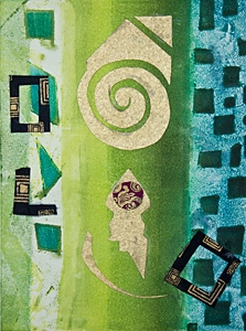 Royal invitation from the 7 Planets-2, Kathleen Thoma, monotype & collage, 5x7in