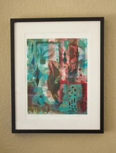 Infinite Sanctum, Kathleen Thoma, monotype & collage, 11x14 in