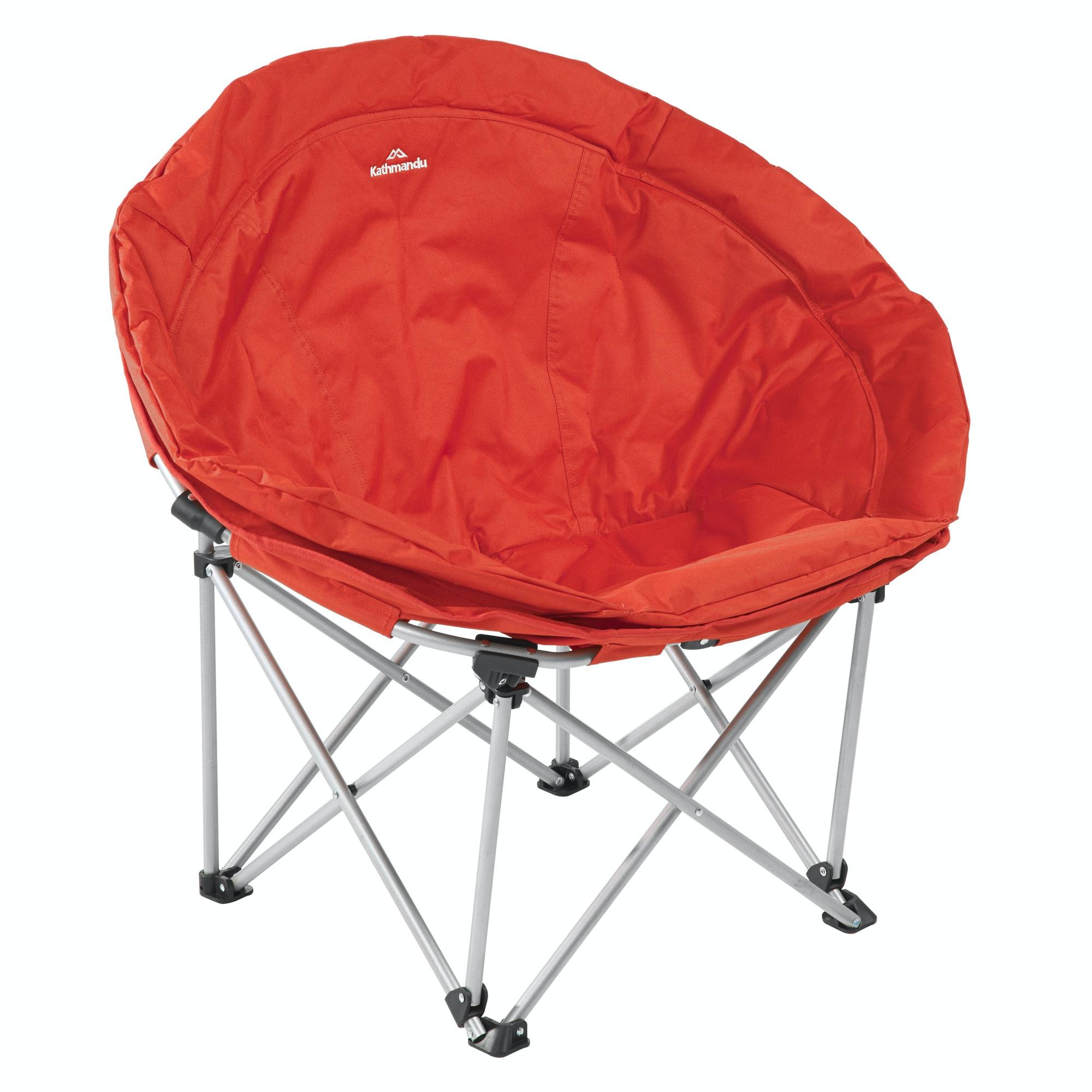 plush padded moon saucer chair in red swivel recliner real leather kathmandu retreat folding ebay