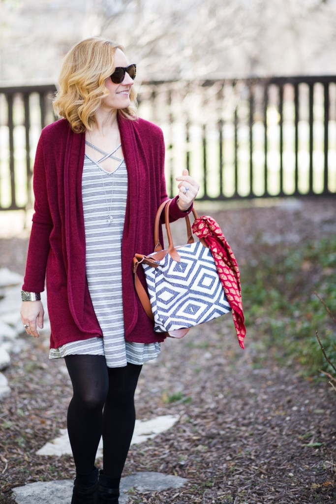 Fall Look featuring oxblood and grey stripes.