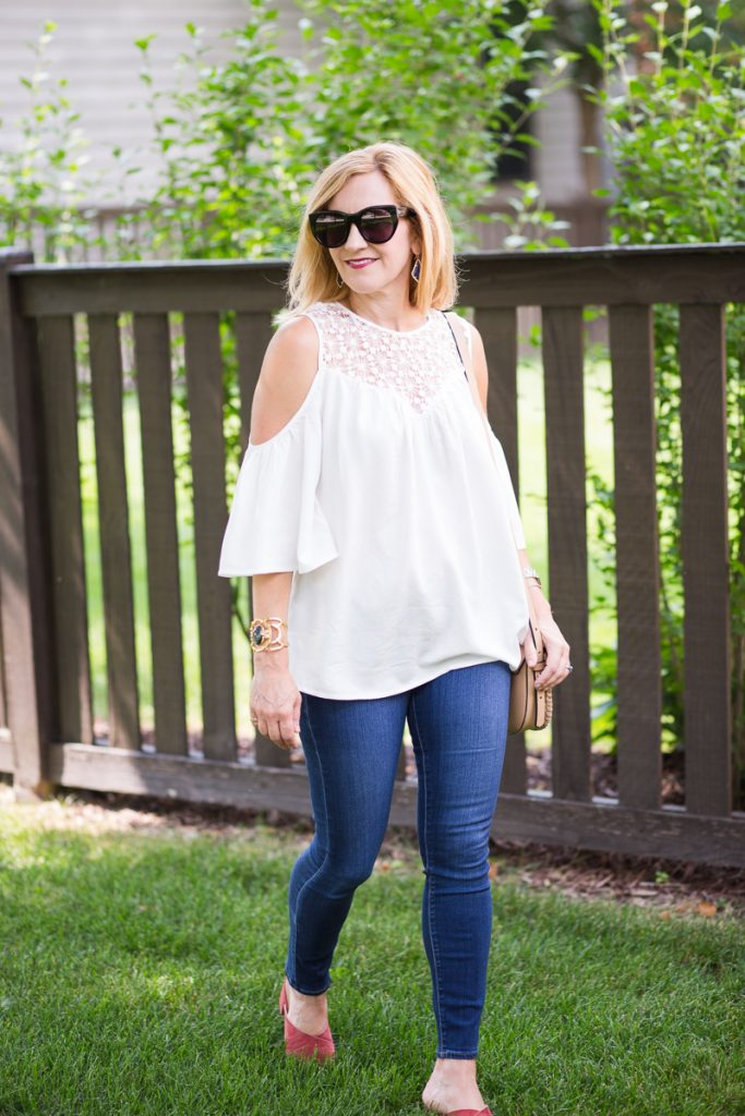 A white off the shoulder crochet top perfect for summer