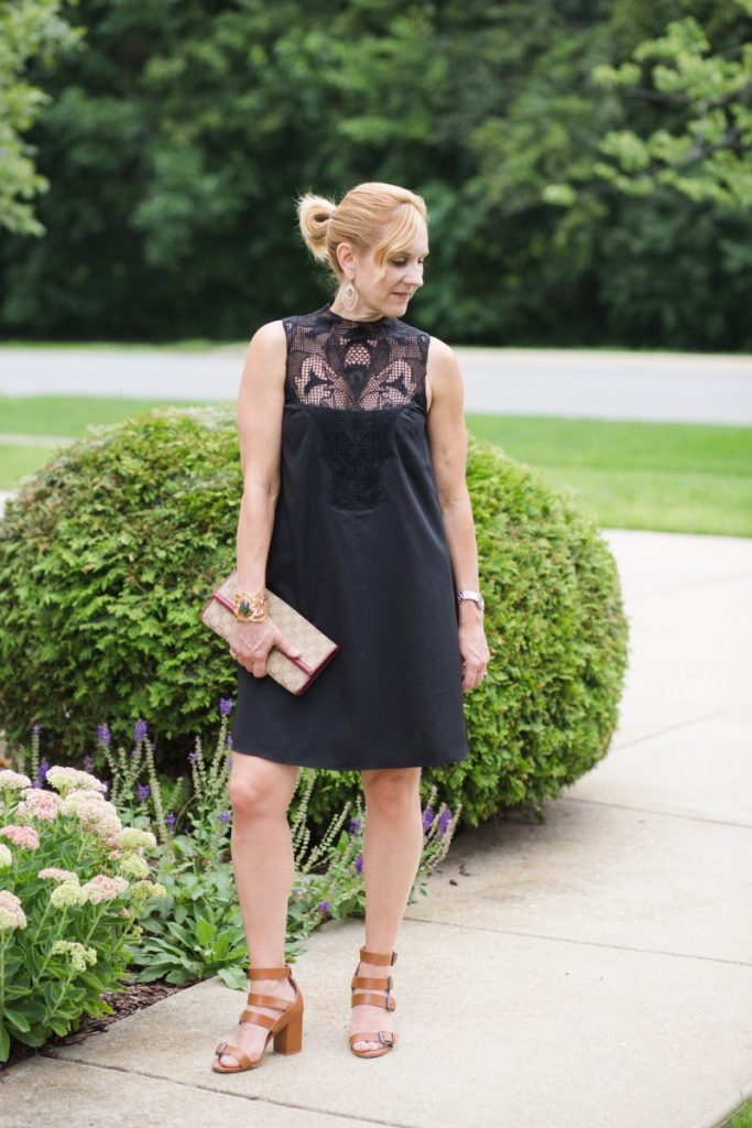 Black Swing Dress with Lace Yoke Detail