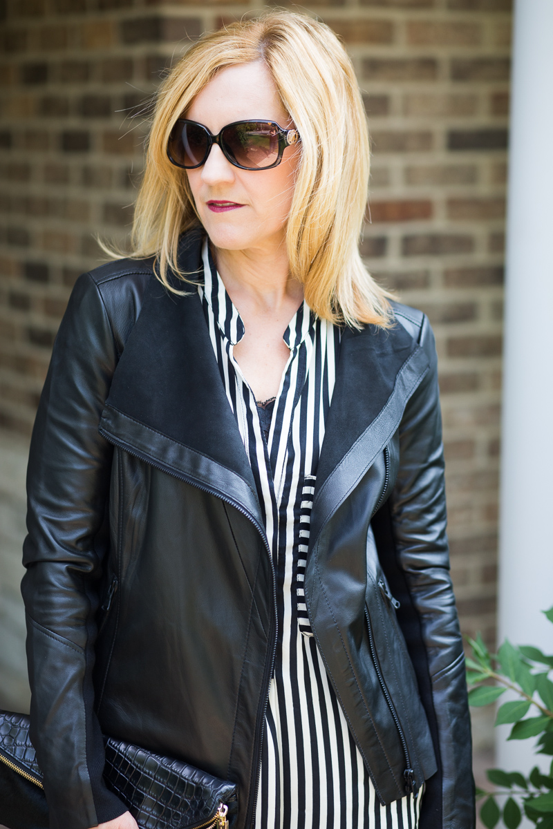 Trouve' Leather Jacket with Zara Striped Blouse