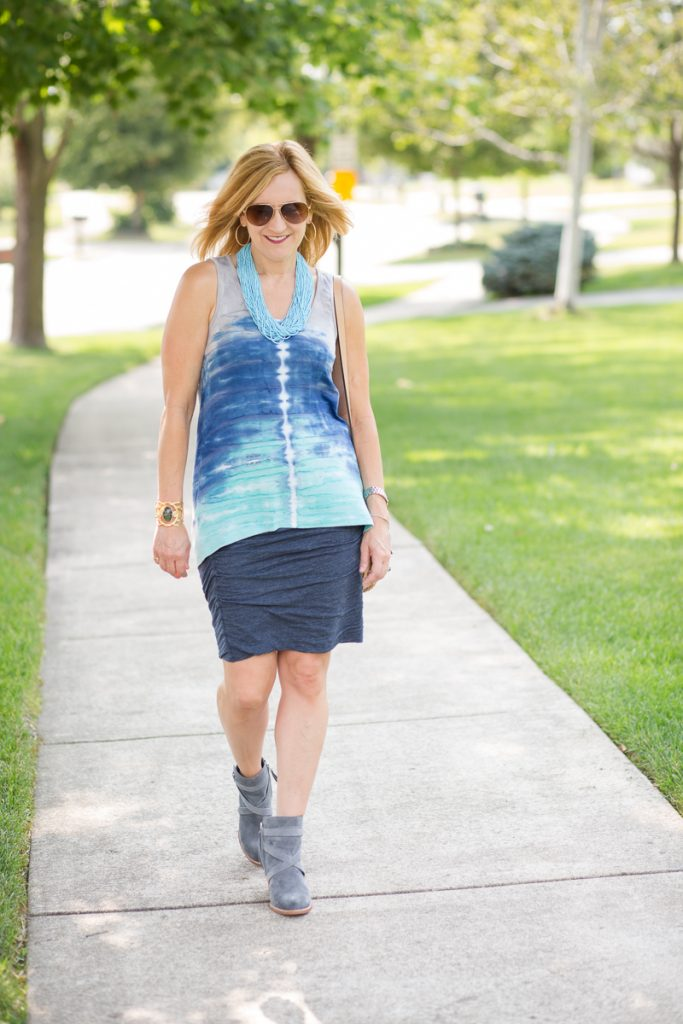 Tie dye tank with cotton skirt and booties