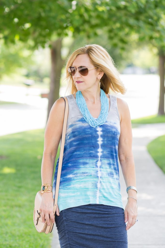 Blue Tie Dye Tank with Bali Bead Necklace