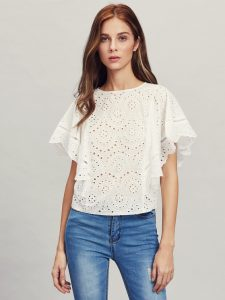 Ladder Lace Cape Sleeve Eyelet Top by Make Me Chic