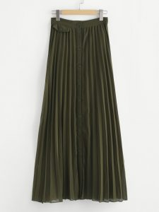 Olive Button Up Pleated Skirt by Make Me Chic