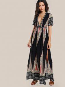 Geo Print Plunge Neck Kimono Dress by Make Me Chic
