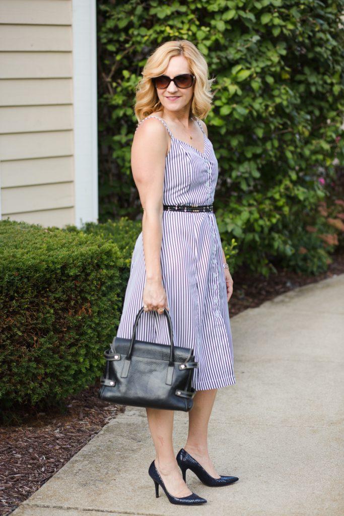 Button Up Striped Belted Mini Dress by Zaful