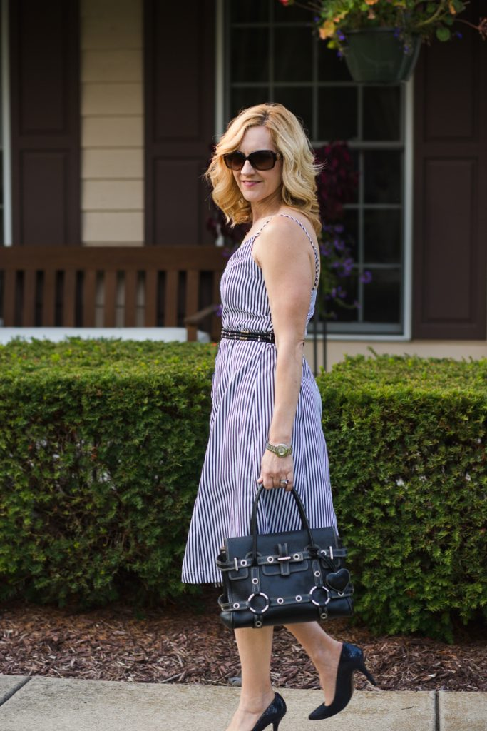 Black and White Striped Dress by Zaful - Transitioning your Summer Dress to Fall