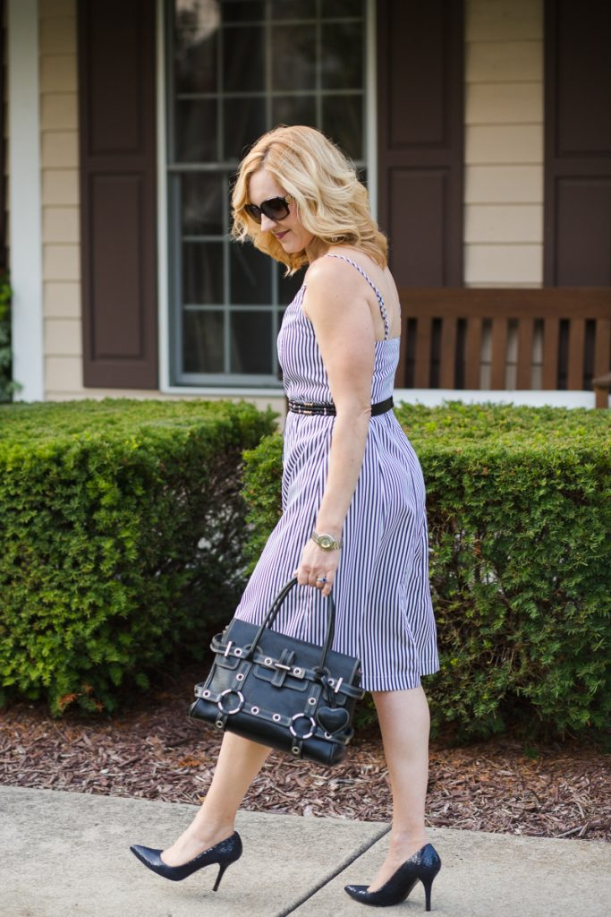 Summer work look featuring a black and white striped dress from Zaful