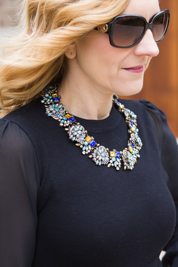 Rhinestone Statement necklace with black long sleeved top