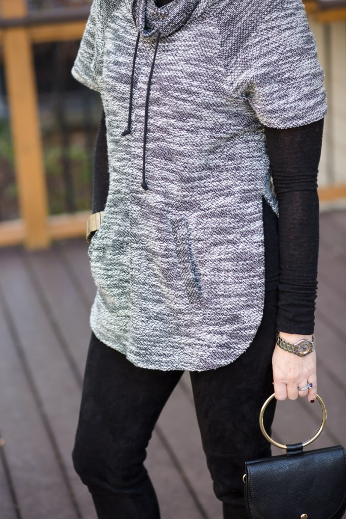 Marled Cowl Neck Sweater with Suede Leggings from Zara