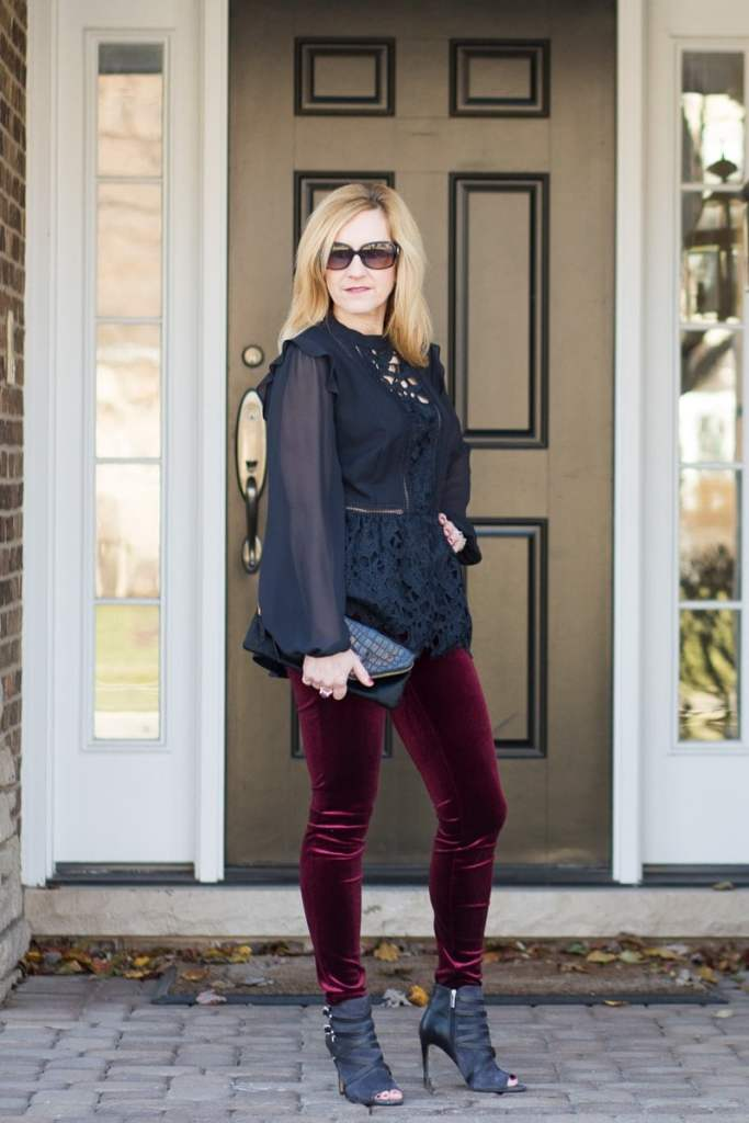 Christmas Outfit featuring a Black Peplum Top and Burgundy Velvet Leggings