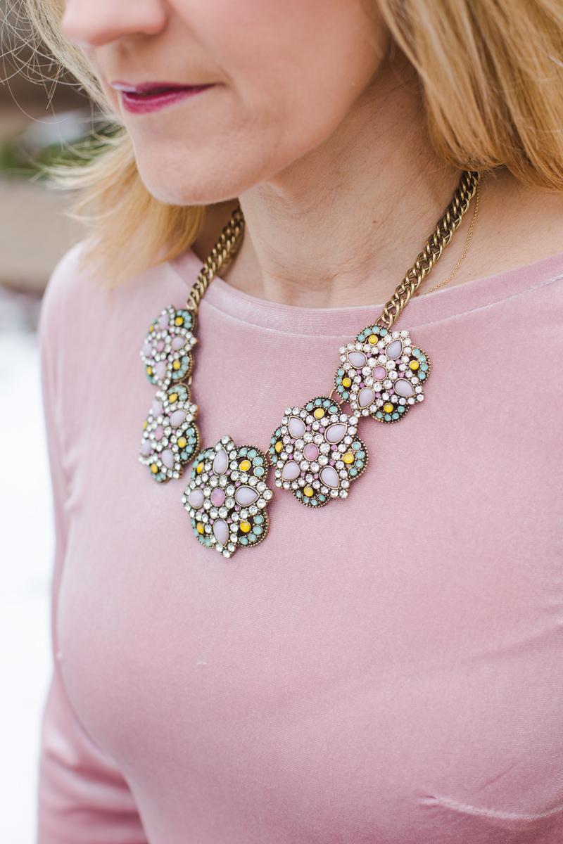 Rhinestone Statement Necklace with Pink Velvet Dress