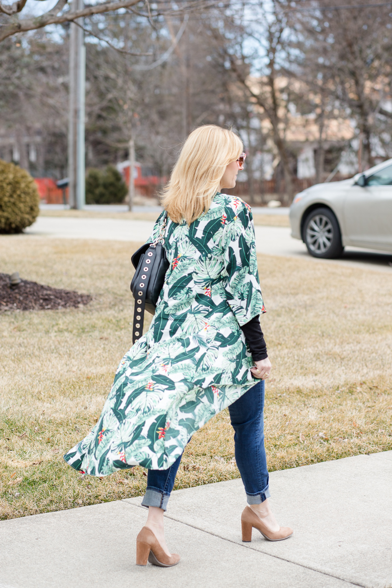 Palm Print Duster with Jeans and Pumps
