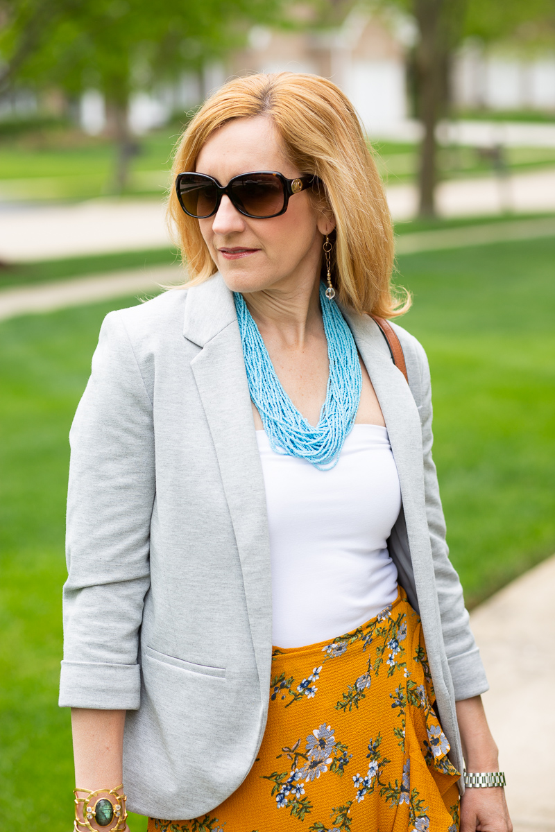 Heather Grey Blazer with White Bandeau Top and Bali Bead Necklace