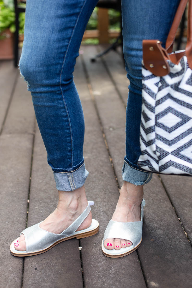 Laura Silver Sandals by Calla Shoes