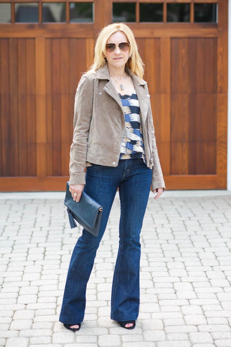 Suede Moto Jacket with Flared Jeans by Kathrine Eldridge, Wardrobe Stylist