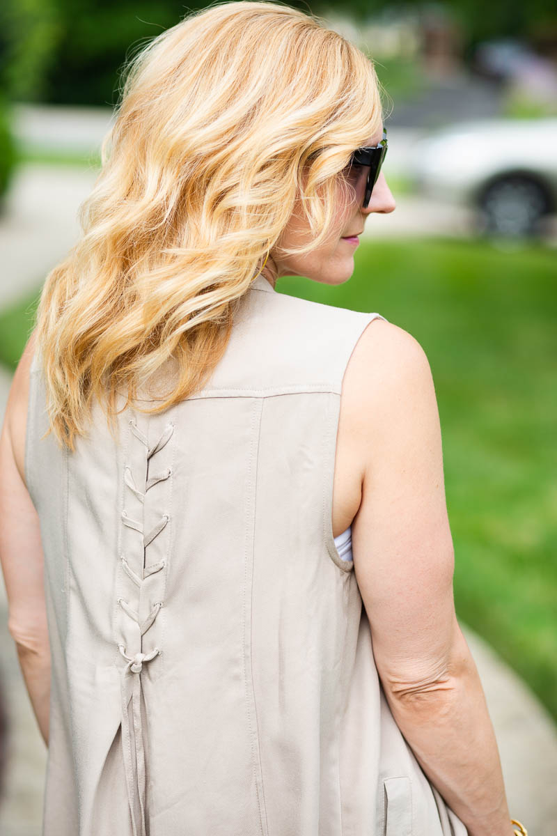 Back Lace Up Detail on Light Tan Draped Vest