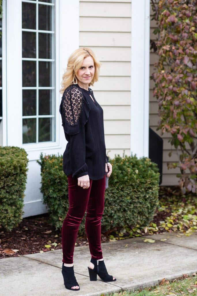 Tribal Black Lace Blouse with Blank NYC velvet leggings