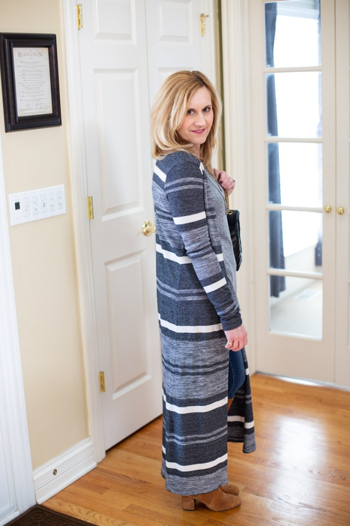 Three Dots Long Striped Cardigan from Armoire