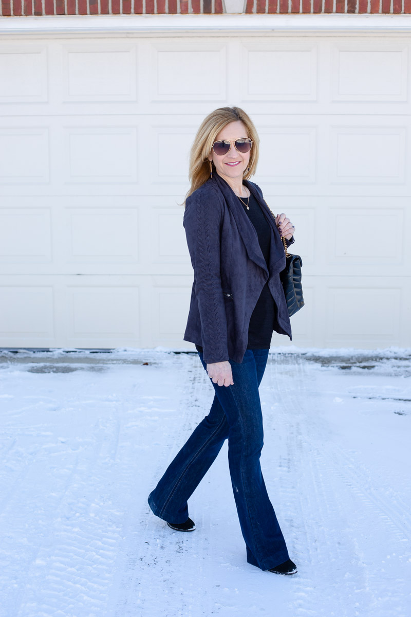 Styling the softest suede waterfall jacket by Cupcakes and Cashmere.