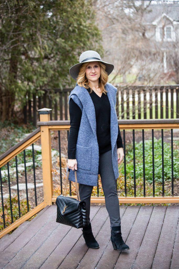 Black and Blue in Cozy Layers by Kathrine Eldridge, Wardrobe Stylist