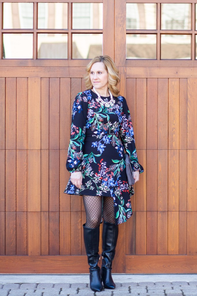 Edgy Black Floral Dress with Black Knee Boots
