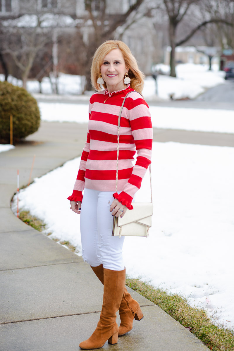 Pink and Red Striped Top with White Jeans and Tan Knee Boots