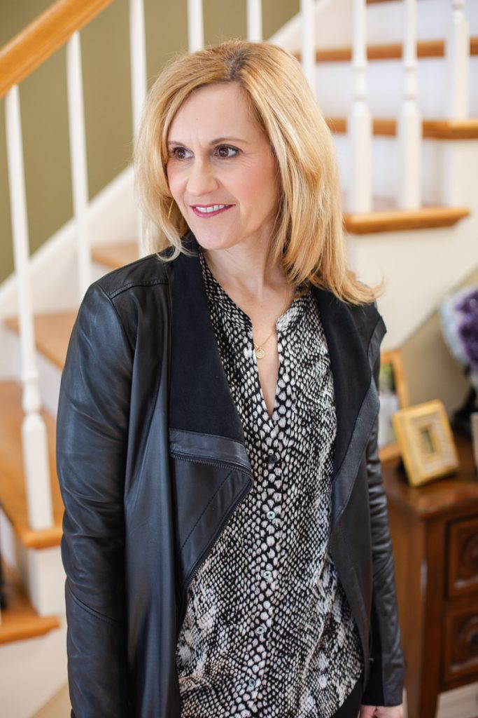 Styling my waterfall leather jacket with a snakeskin top.